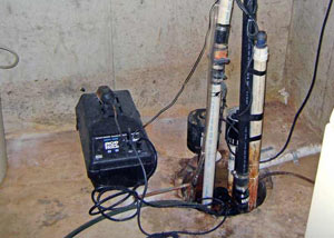 Pedestal sump pump system installed in a home in Berrien Springs