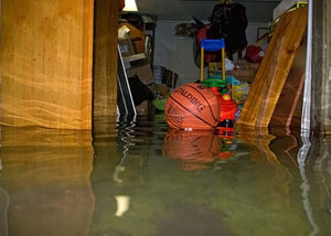 A flooded basement bedroom in Cassopolis